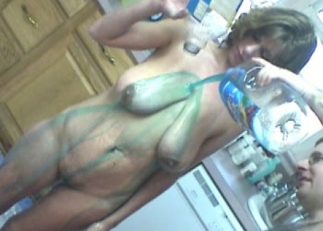 Ivy Rose gets a fruit juice bath